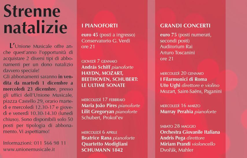 strenne natalizie unione musicale - concerti classica torino